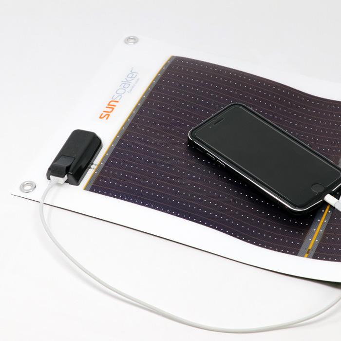 太陽電池シートSunSoaker USBポート充電 3種類充電ケーブル付きセット【納期1〜5営業日】【日本製 防災グッズ 防災セット ソーラー発電 携帯スマホ充電 太陽光発電 ソーラー電池】