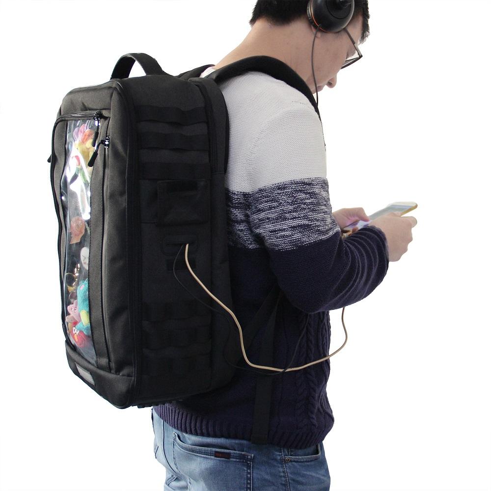 Qanba Shield Arcade Joystick Backpack(クァンバ シールド アーケード ジョイスティック バックパック)Obsidian収納に最適サイズ フタ型スーツケース ラップトップPC、小物収納 ドリンクホルダー ストラップポケット イヤホンホール ディスプレイウィンドウ MOLLEシステム