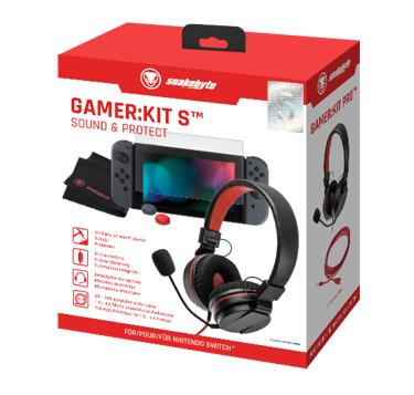 SnakeByte 任天堂 Switch ヘッドセット&本体保護パーツセット GAMER:KIT S™ ゲーマー:キット S インラインコントローラー付きヘッドセット 延長ケーブル 強化ガラス製スクリーンプロテクター スティックキャップ 同梱