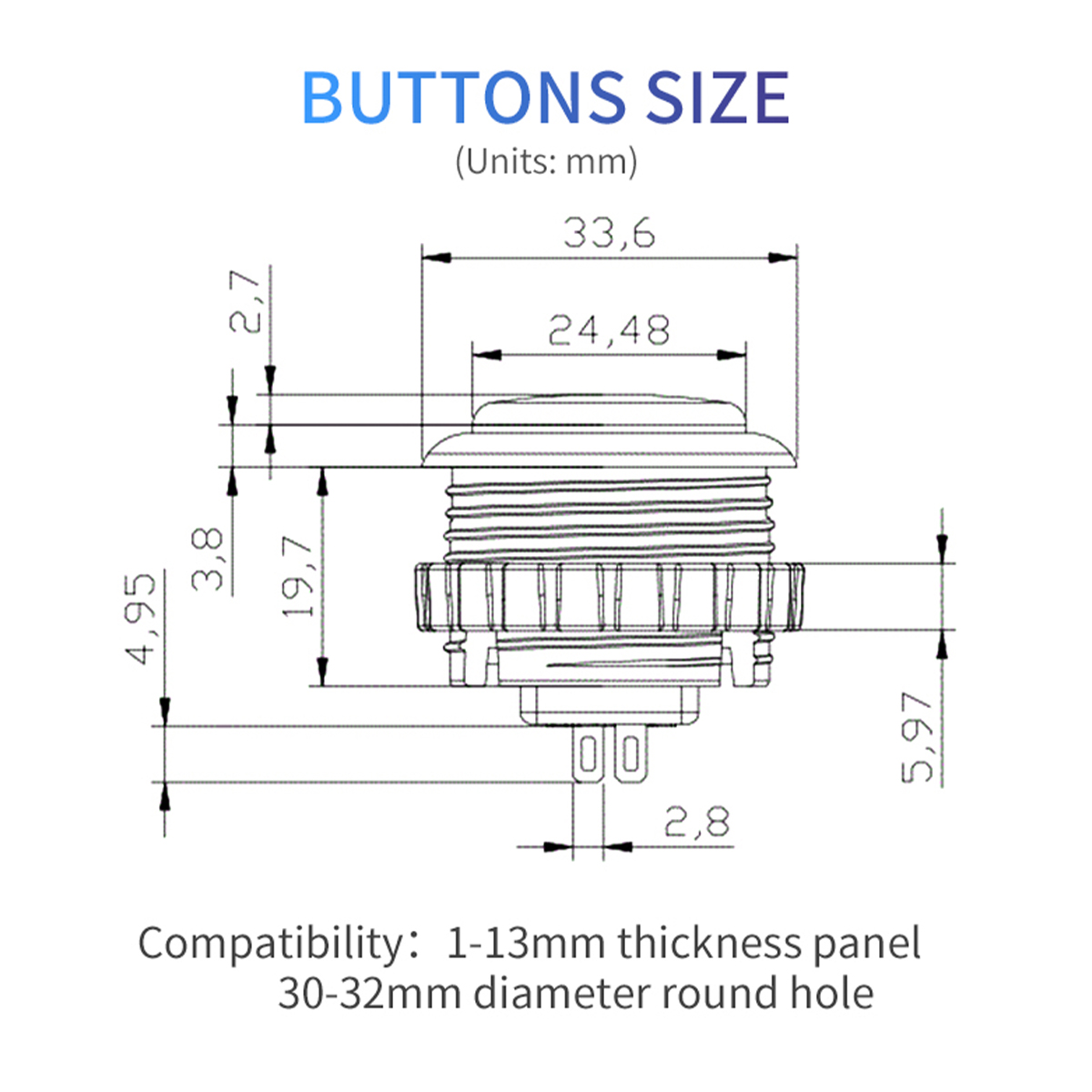 【通常8個セット】 Qanba Gravity(グラビティ)メカニカルスイッチ アーケード ボタン メタルボックス入り 30mm(ネジ式)
