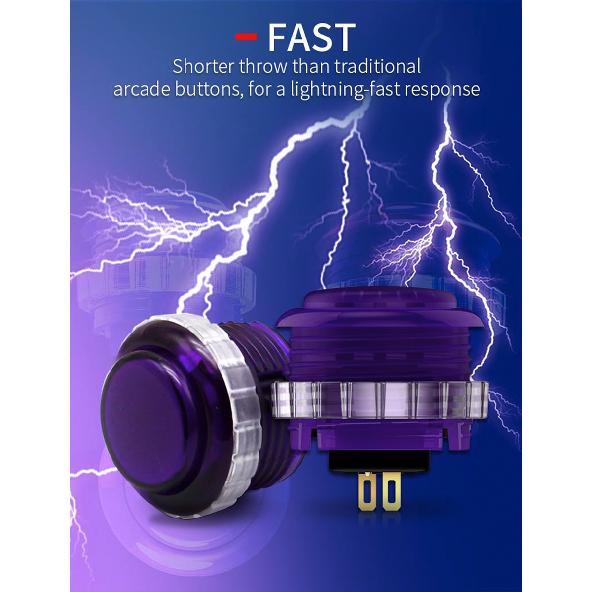 【半透明クリア8個セット】 Qanba Gravity(グラビティ)メカニカルスイッチ アーケード ボタン メタルボックス入り 30mm(ネジ式)