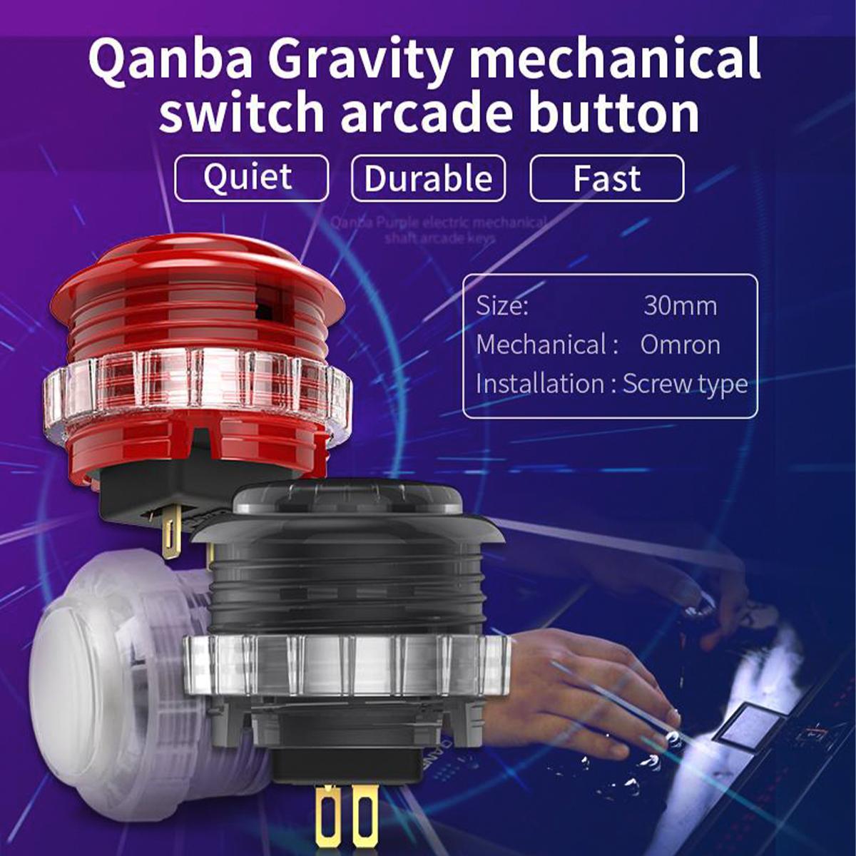 【クリア8個セット】 Qanba Gravity(グラビティ)メカニカルスイッチ アーケード ボタン メタルボックス入り 30mm(ネジ式)