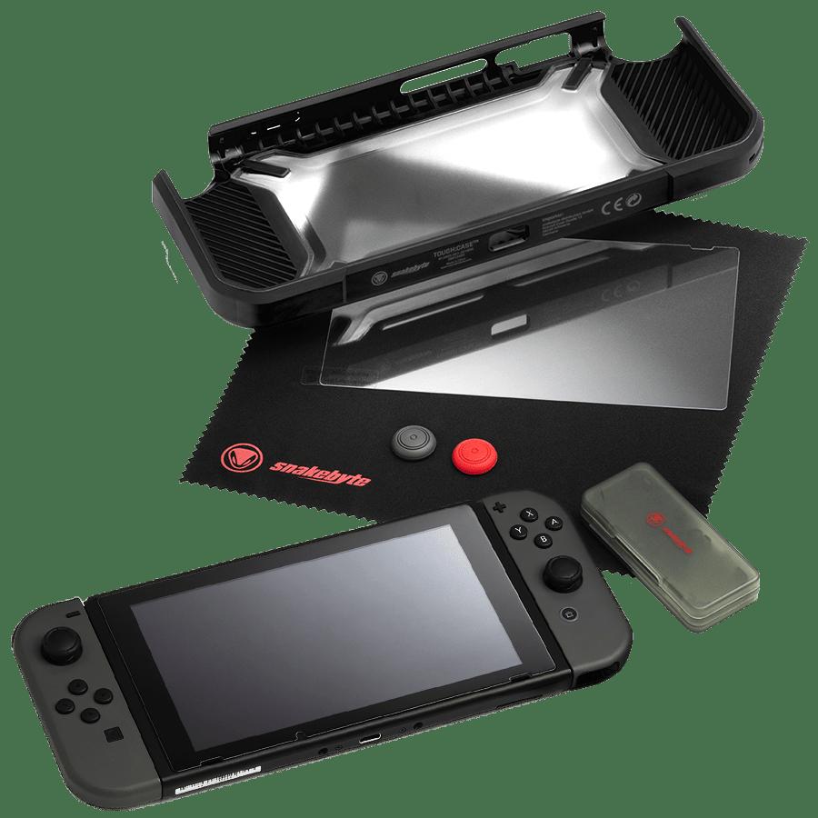 SnakeByte 任天堂 Switch ハードケース&本体保護パーツセット TOUGH:KIT™ タフ:キット TPU+PC素材 全面保護 耐衝撃 耐傷 グリップ ゲームカードケース フィルム クリーニングクロス同梱