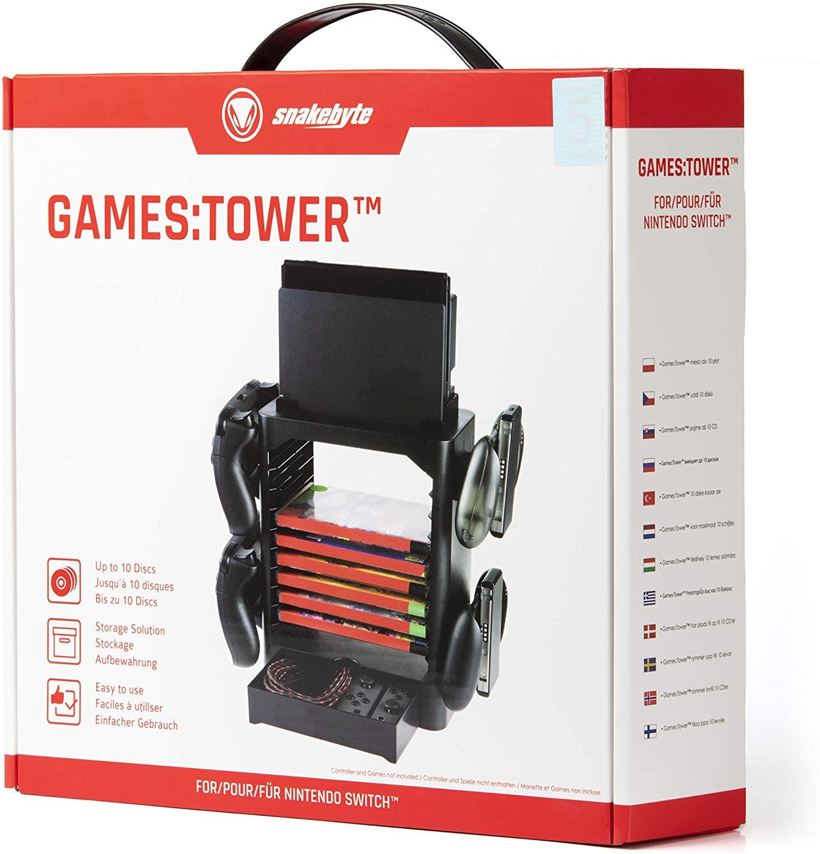 SnakeByte 任天堂 Switch コントローラー&パッケージストレージ GAMES:TOWER™ ゲームス:タワー ドック 4コントローラー 10ゲームカードパッケージ ジョイコン&ケーブル収納スペース