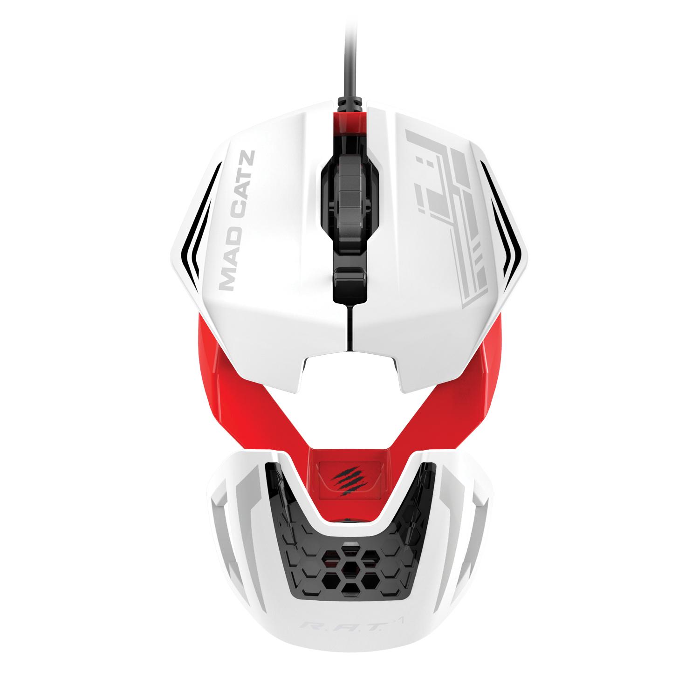 【Mad Catzセール】 RAT1 ゲーミング マウス ホワイト/レッド 3500dpi 超軽量 本体重量50g