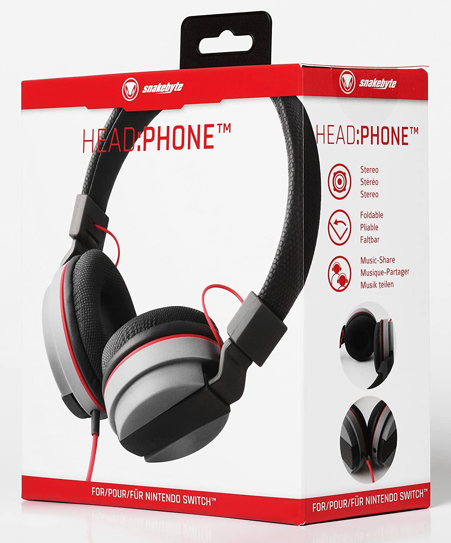 SnakeByte 任天堂 Switch ステレオヘッドホン HEAD:PHONE™ ヘッド:フォン 3.5�ジャック 40mmドライバー 折りたたみ可能 収納用巾着袋付