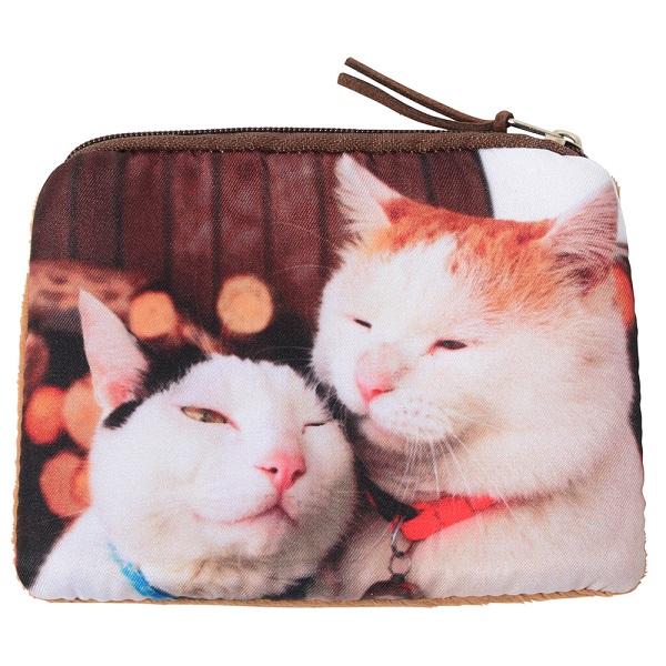 猫 アンティーク調マルチレザートレー Sleep 長方形 選べるネコのポーチ付き
