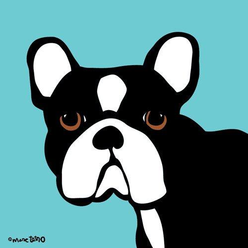 【Marc Tetro】  マークテトロ    Frenchie on Blue Print フレンチブルドッグ ブループリントアート  8インチ×10インチ