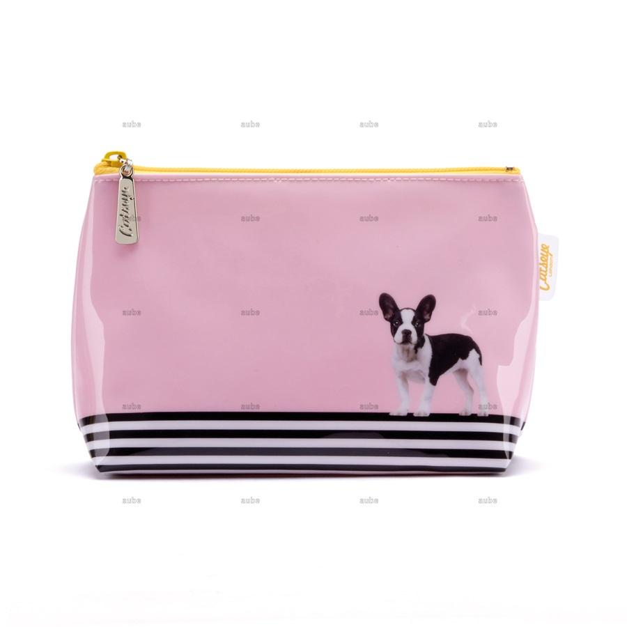 キャッツアイロンドン  フレンチブルドッグ ポーチ Dog on Stripe  Small Bag