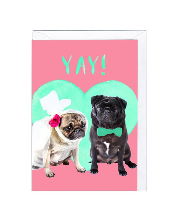 グリーティングカード HAPPY COUPLE CARD パグ