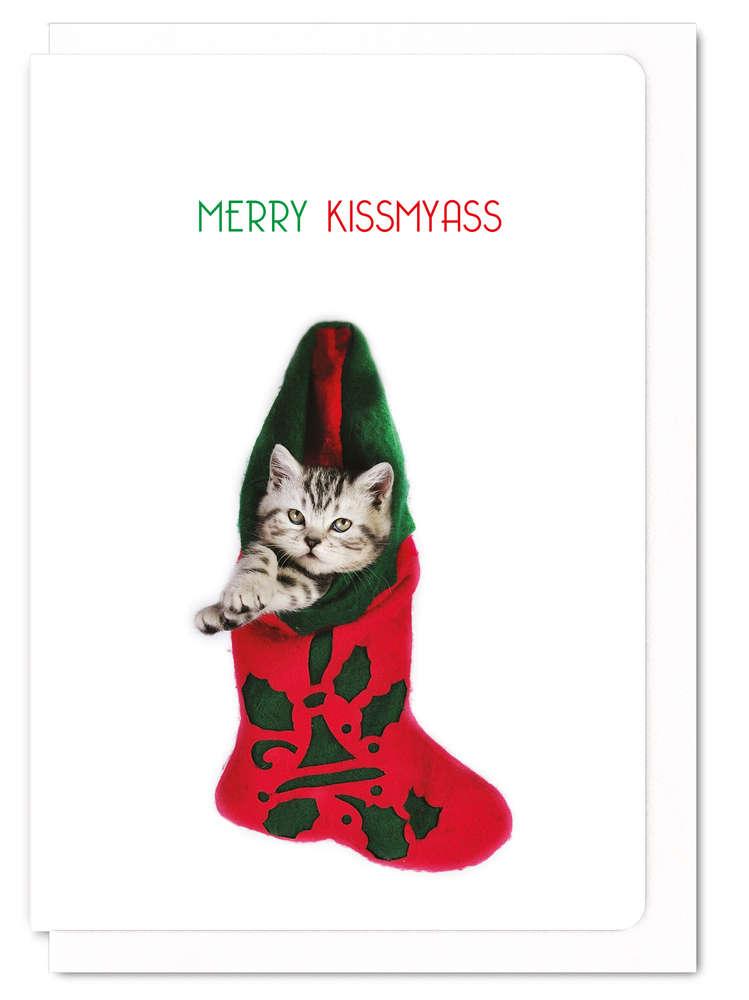 クリスマスカード メッセージカード ねこ 猫柄 おしゃれ かわいい Merry kissmyass