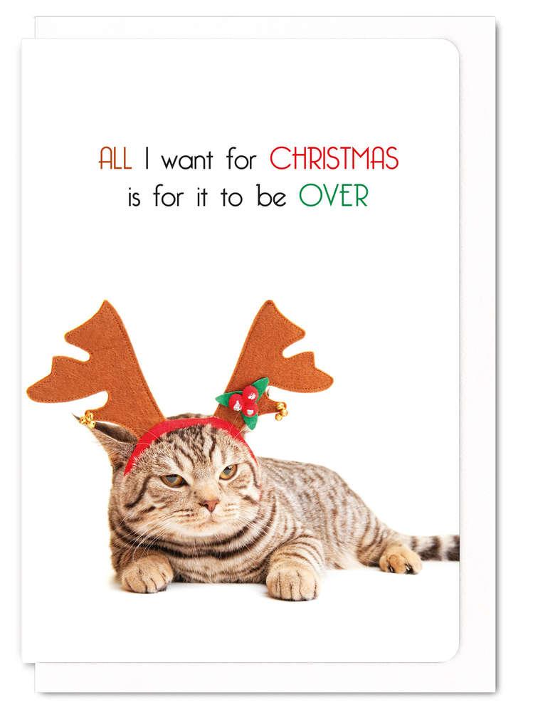 クリスマスカード メッセージカード ねこ 猫柄 かわいい All I want for chiristmas