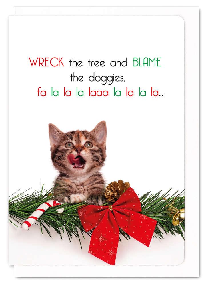 クリスマスカード ねこ メッセージカード Blame the doggies