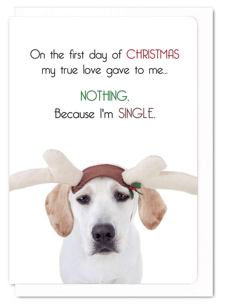 クリスマスカード おしゃれ 犬 ラブラドール かわいい メッセージカード Because I'm single