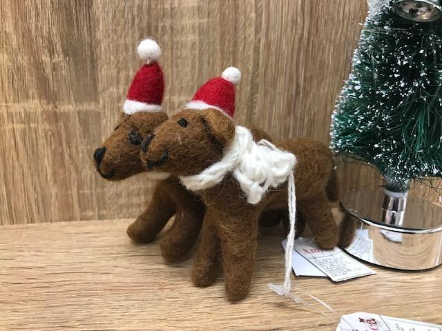 羊毛フェルトToy チョコレートラブラドール クリスマスオーナメント