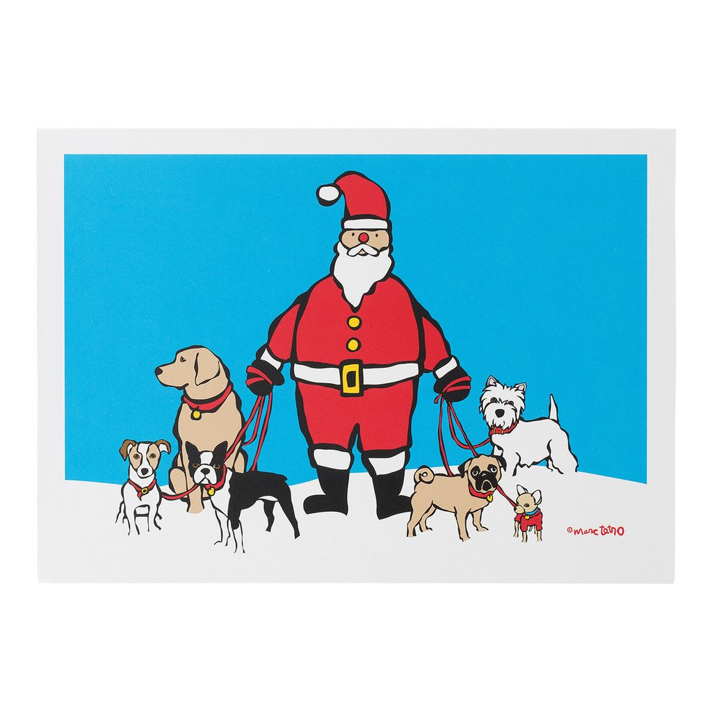 【Marc Tetro】  クリスマスカード Santa Dog Walker