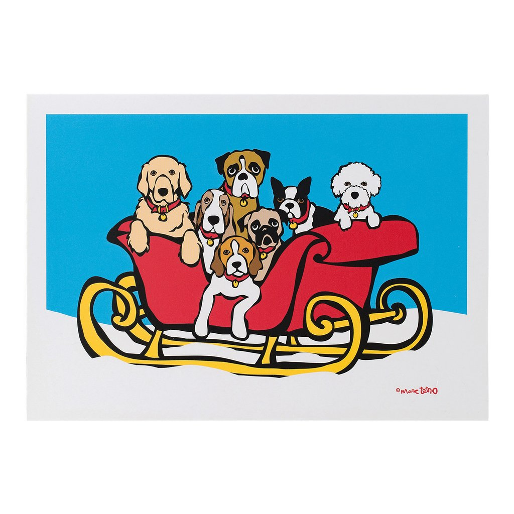 【Marc Tetro】  クリスマスカード   Dogs in Sleigh