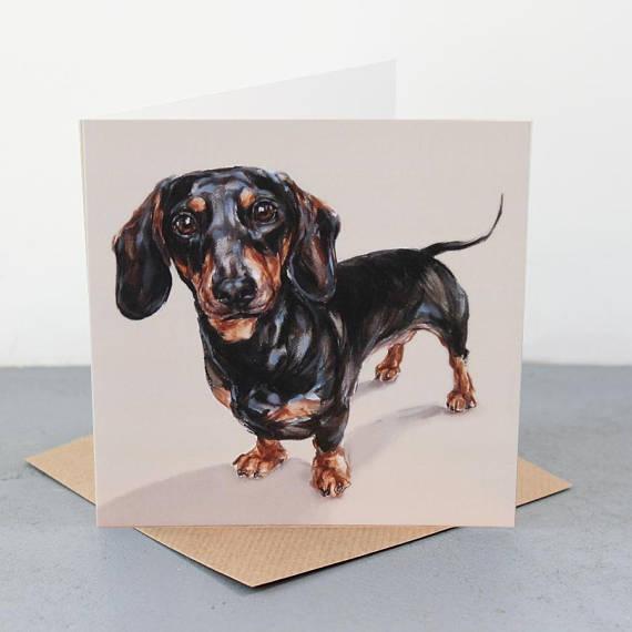 Longing a Dachshund    Greetings Card