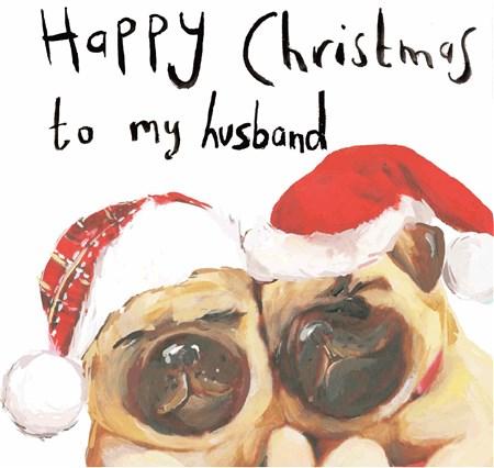 クリスマスカード  Happy Christmas to my husband  パグ
