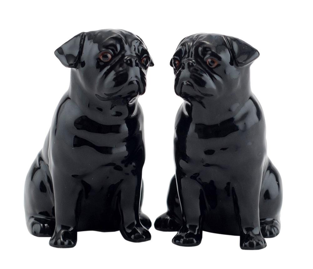 陶器製ドッグオーナメント パグ ブラック