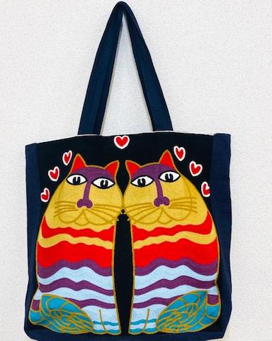 猫柄 刺繍 トートバッグ