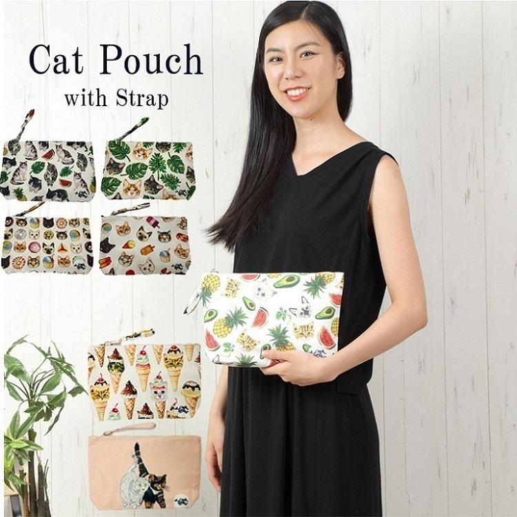 猫柄ストラップ付きポーチ ラージサイズ