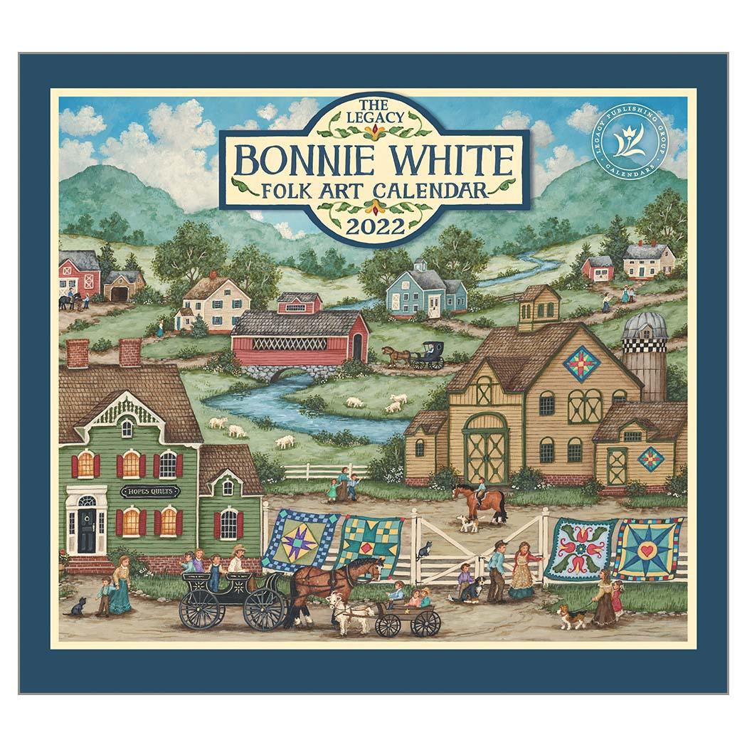 2022 BONNIE WHITE FOLK ART ウォールカレンダー