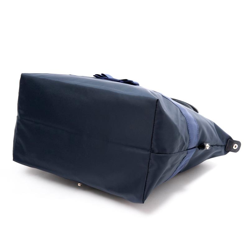 ナイロンオックスの折りたたみトートバッグ 紺 【ダブルフェイスリボン】 OTT-WNV ※L、Sの2サイズ御座います。