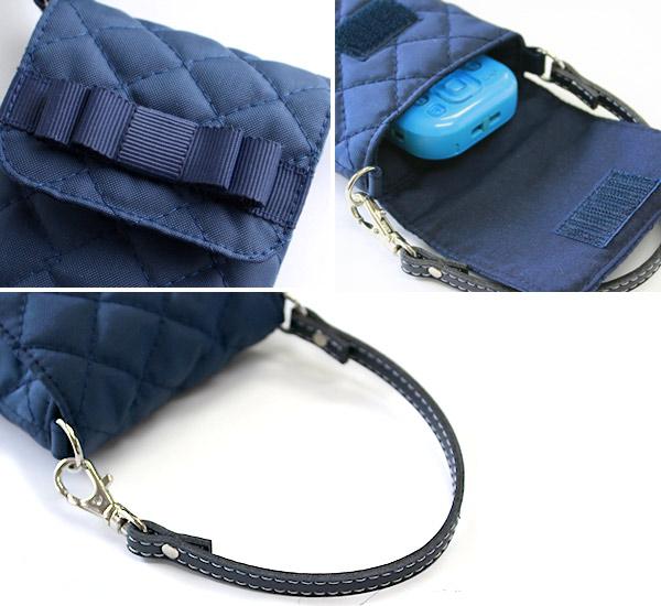 ナイロンキルティングの携帯電話ケース【紺】グログランリボン KOY-KC01
