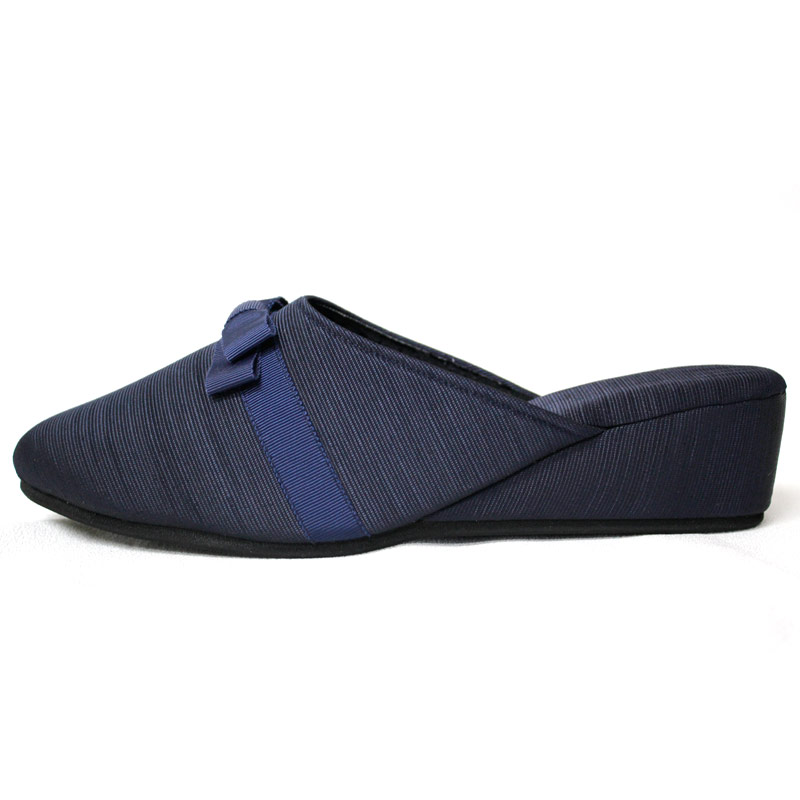 【巾着付き】グログランの5�ヒール美脚スリッパ【紺】フロントミニリボン MOR-SPB-14