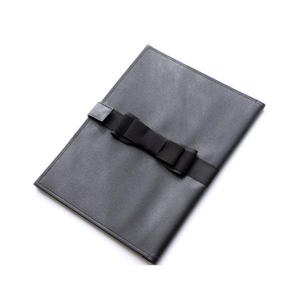 黒革の書類ケース ダブルフェイス・グログランリボン【黒】 KSC-07