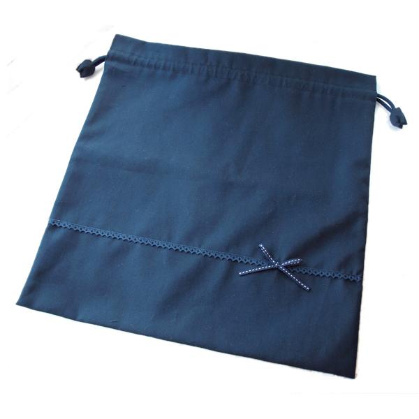 レース&ステッチリボンの体操着袋 【濃紺】 SK-KON-SR01