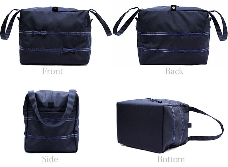 ナイロンオックスのボックス型ランチ保冷バッグ 【ステッチリボン】 LCBX-STR01