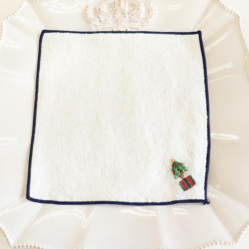 クリスマスツリー刺繍の今治タオルハンカチ【15�】IT-XMAS01