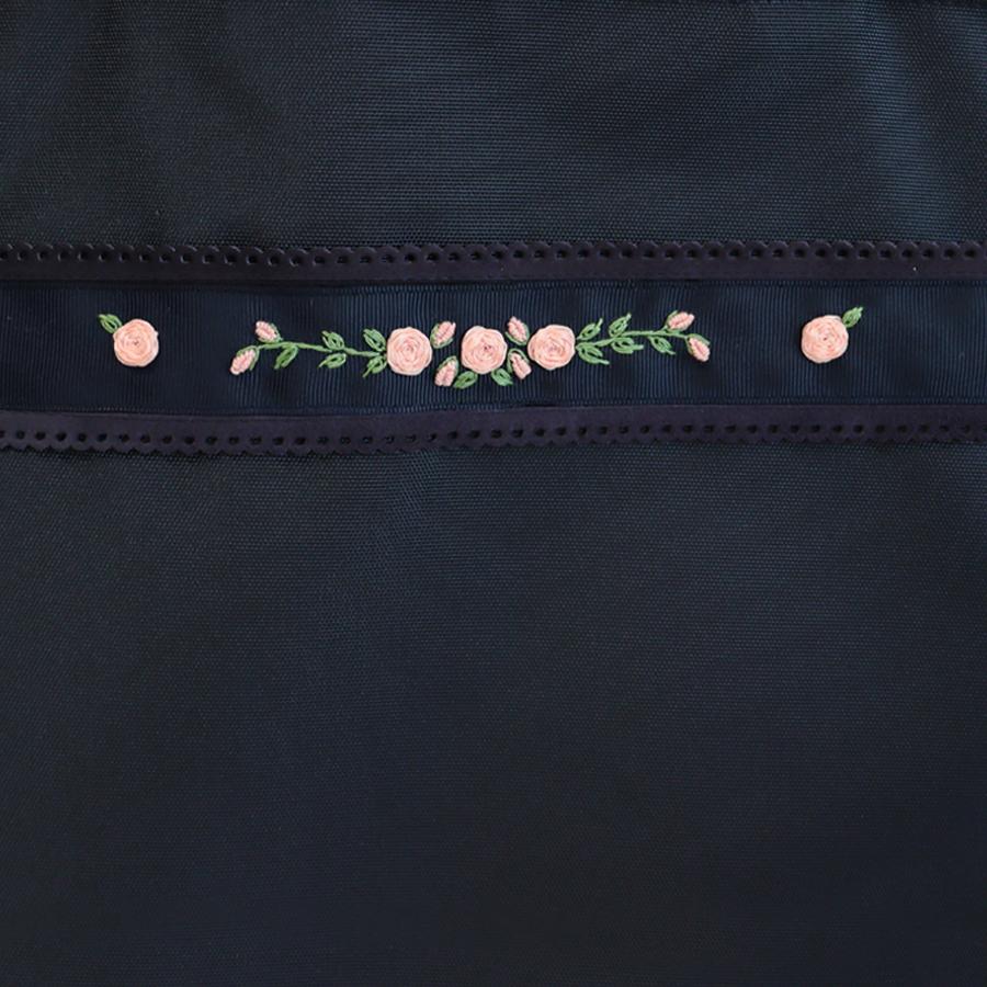 【HandMade】 ナイロンオックスの2足入りシューズバッグ バリオンローズ手刺繍 SB-2S-FL02