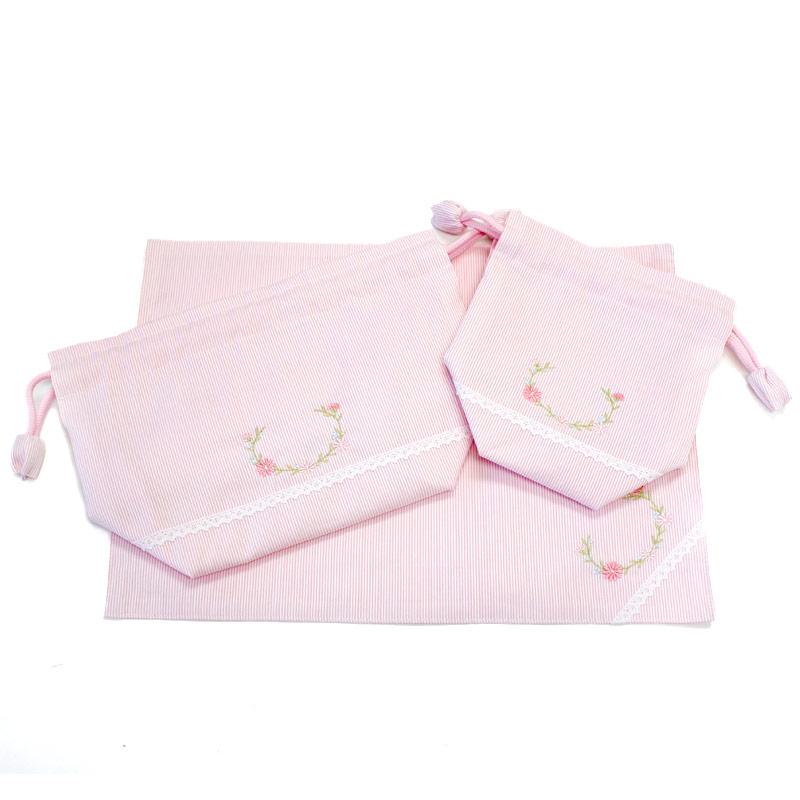 【単品販売】マーガレット刺繍とホワイトレースのランチセット【ピンクコードレーン】 LCS-MGR02