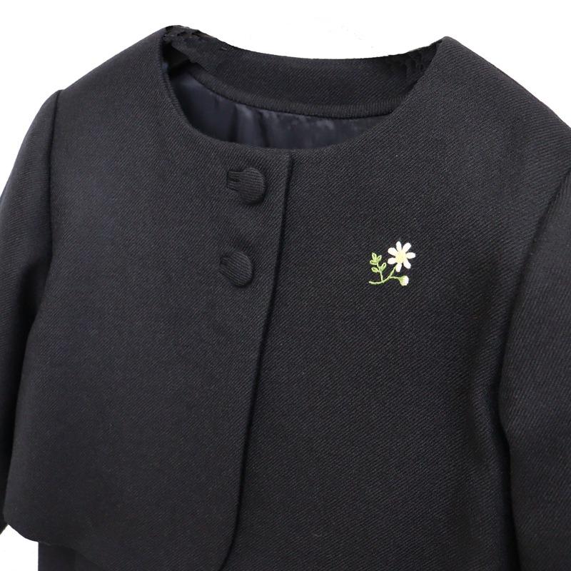 【carinissimo カリニッシモ】 ボレロとジャンパースカートのアンサンブル マーガレット刺繍 《濃紺》 CA-CE-M