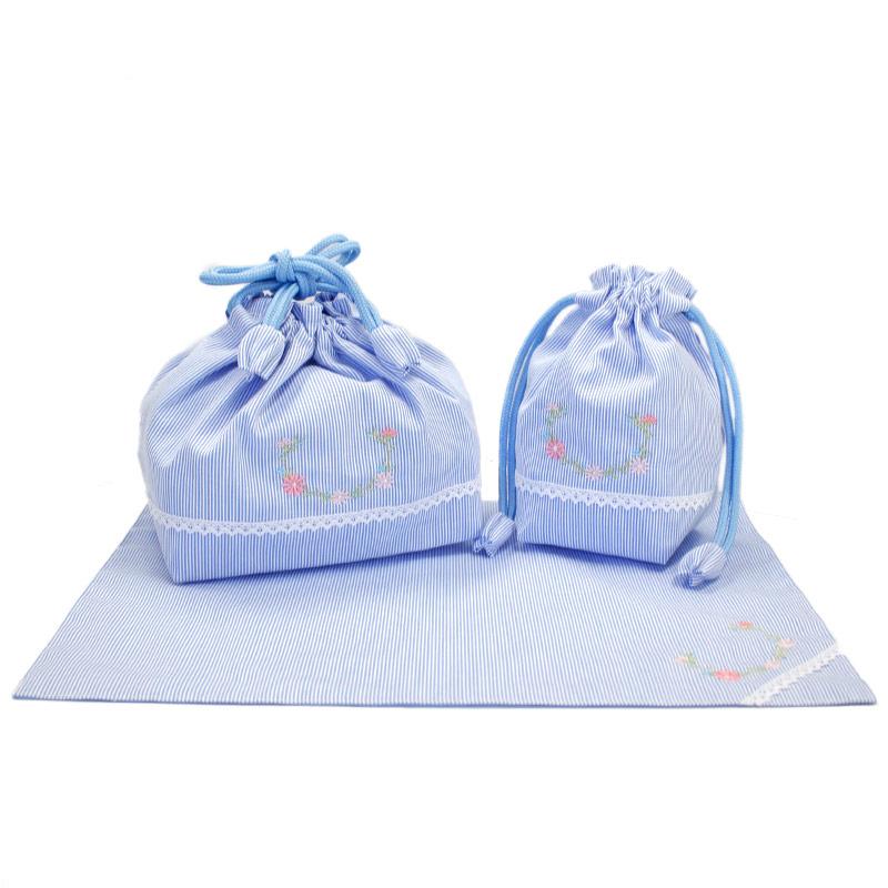 【単品販売】マーガレット刺繍とホワイトレースのランチセット【ブルーコードレーン】 LCS-MGR03