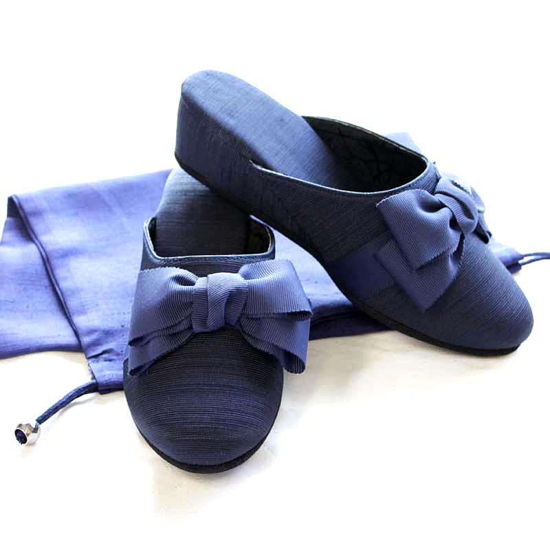 【巾着付き】グログランの5cmヒール美脚スリッパ 紺 エレガント・キルシェリボン NVC-E01