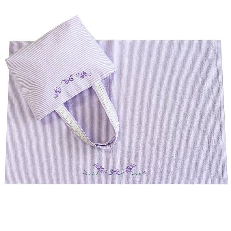 リボン&フラワー刺繍のランチクロス 38cm×57cm   【パープルコードレーン】 LCC-PP01