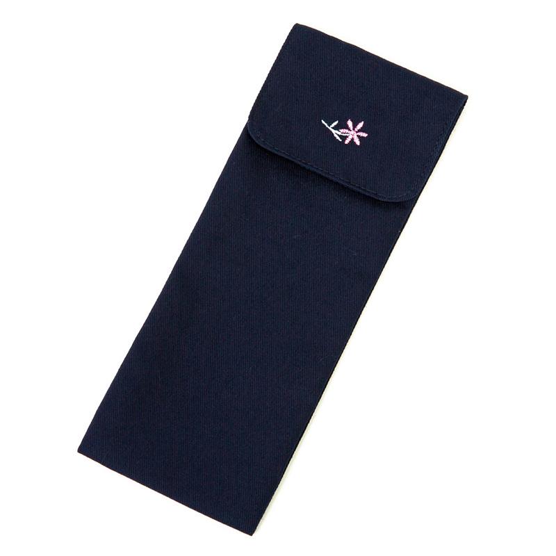 小花刺繍のスプーン&フォーク・おはしケース【濃紺】NKJ-SF04