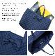 ナイロンキルティングのリボンレッスンバッグ 【紺】 スケッチブックサイズ NK-LSB-BR01