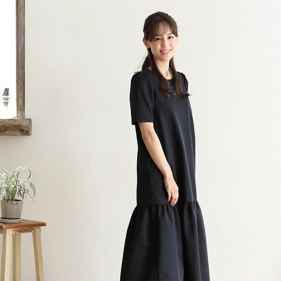 ギャザー切り替えワンピース【ネイビー】CD-SUMMER03