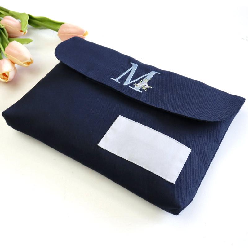 【プチオーダー】入学準備品 工作袋【イニシャルデザイン】ネイビー/綿 素材 ORD-KOSK02