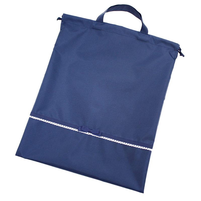 ナイロンの持ち手付き巾着【紺】レース&リボン NY-HSK-R01