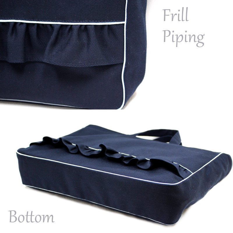 ブルーパイピングのフリルレッスンバッグ【濃紺】BP-LSB-FR01