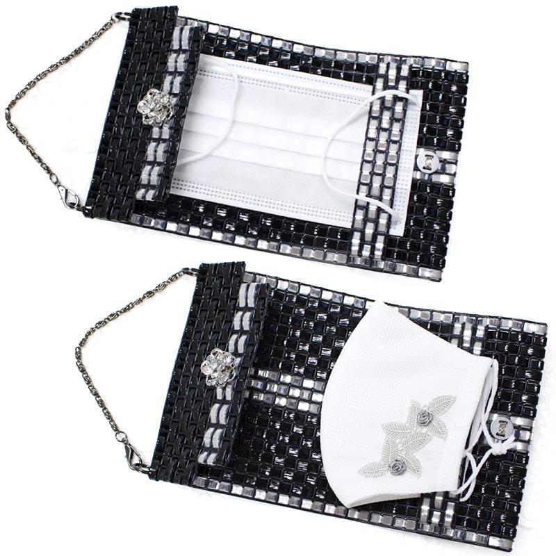 ジュエリーバッグ型マスクケース【ブラック】 MSK-C04