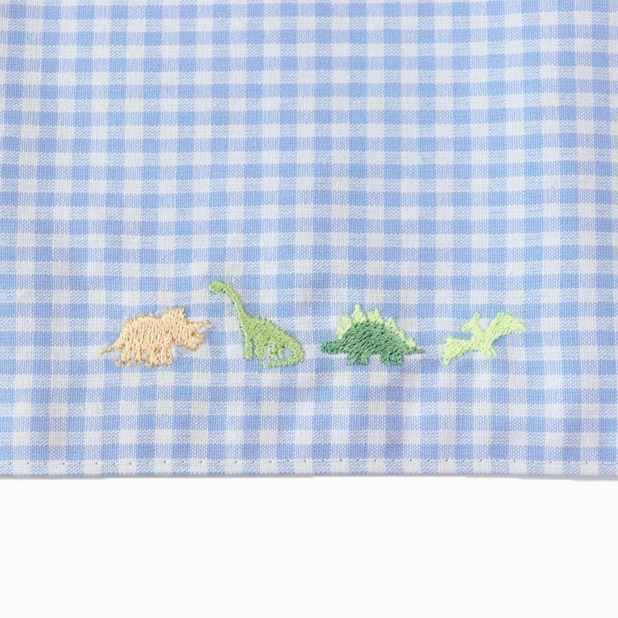 【-色彩感覚を育てる- COLORFUL Kirsch*】 dinosaurランチセット  恐竜と水色ギンガムチェック LCS-DNS-01