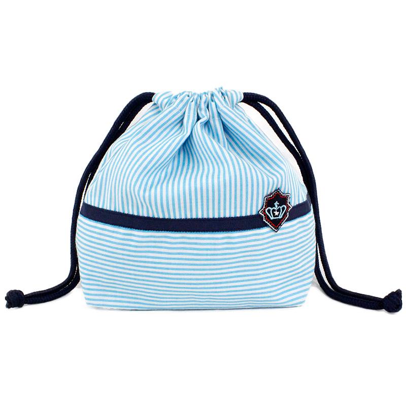 【単品販売】ブルーボーダーとクラウン刺繍ワッペンのランチセット LCS-BB01