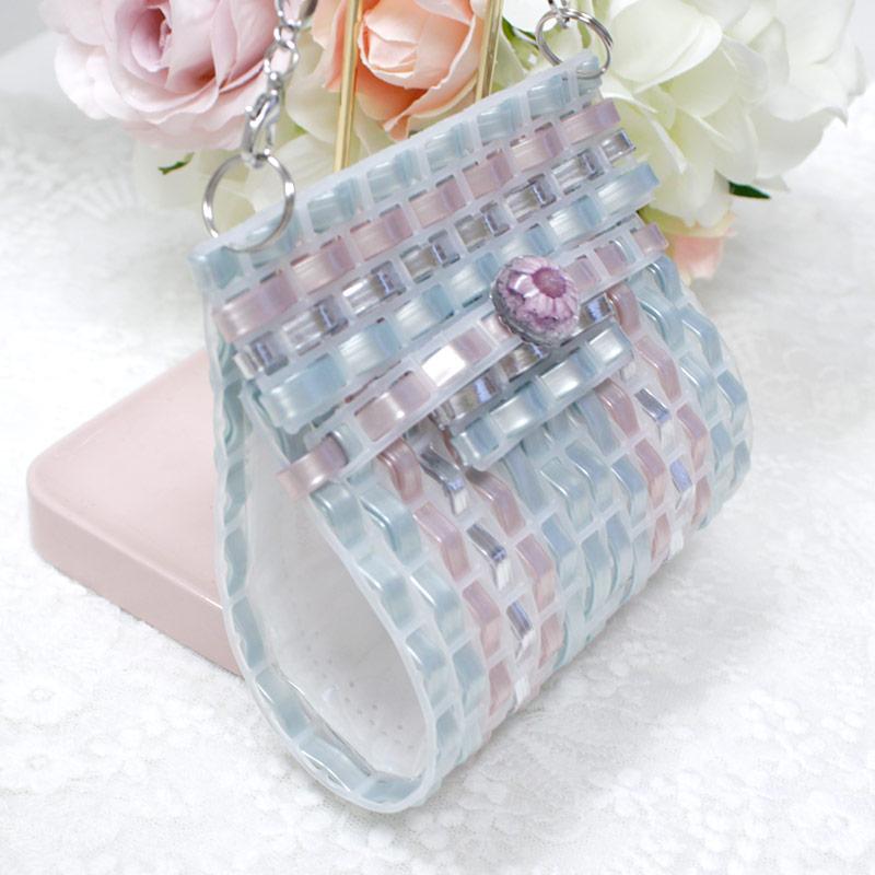 ジュエリーバッグ型マスクケース【ブルー&ピンク】 MSK-C05